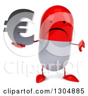 Clipart Of A 3d Unhappy Red And White Pill Character Holding A Thumb Down And A Euro Symbol Royalty Free Illustration