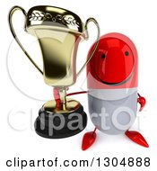 Clipart Of A 3d Happy Red And White Pill Character Holding Up A Trophy Royalty Free Illustration