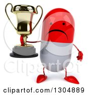 Clipart Of A 3d Unhappy Red And White Pill Character Holding A Trophy Royalty Free Illustration