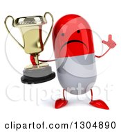 Clipart Of A 3d Unhappy Red And White Pill Character Holding Up A Finger And A Trophy Royalty Free Illustration