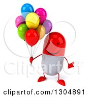 Clipart Of A 3d Happy Red And White Pill Character Shrugging And Holding Party Balloons Royalty Free Illustration