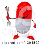 Clipart Of A 3d Happy Red And White Pill Character Holding A Wrench Royalty Free Illustration