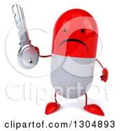 Clipart Of A 3d Unhappy Red And White Pill Character Holding A Key Royalty Free Illustration