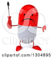 Clipart Of A 3d Unhappy Red And White Pill Character Holding A Thumb Down And A Screwdriver Royalty Free Illustration