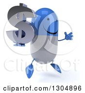 Clipart Of A 3d Happy Blue And White Pill Character Facing Slightly Right Jumping And Holding A Dollar Symbol Royalty Free Illustration