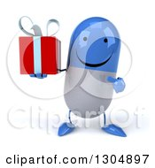 Clipart Of A 3d Happy Blue And White Pill Character Holding And Pointing To A Gift Royalty Free Illustration