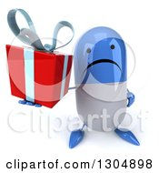 Clipart Of A 3d Unhappy Blue And White Pill Character Holding Up A Gift Royalty Free Illustration