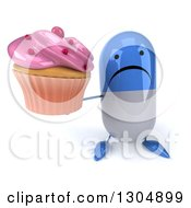 Clipart Of A 3d Unhappy Blue And White Pill Character Holding Up A Pink Frosted Cupcake Royalty Free Illustration