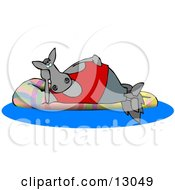 Happy Horse Relaxing On A Floatation In A Swimming Pool Clipart Illustration