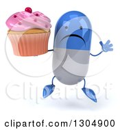 Clipart Of A 3d Unhappy Blue And White Pill Character Jumping And Holding A Pink Frosted Cupcake Royalty Free Illustration