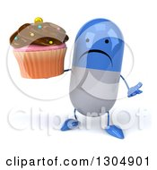 Clipart Of A 3d Unhappy Blue And White Pill Character Shrugging And Holding A Chocolate Frosted Cupcake Royalty Free Illustration