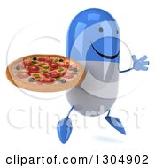 Clipart Of A 3d Happy Blue And White Pill Character Facing Right Jumping And Holding A Pizza Royalty Free Illustration