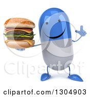 Clipart Of A 3d Happy Blue And White Pill Character Holding Up A Finger And A Double Cheeseburger Royalty Free Illustration