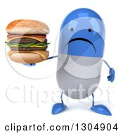 Clipart Of A 3d Unhappy Blue And White Pill Character Holding A Double Cheeseburger Royalty Free Illustration