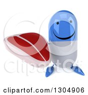 Clipart Of A 3d Happy Blue And White Pill Character Holding Up A Beef Steak Royalty Free Illustration