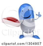 Clipart Of A 3d Happy Blue And White Pill Character Holding Up A Finger And A Beef Steak Royalty Free Illustration
