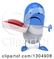 Clipart Of A 3d Unhappy Blue And White Pill Character Holding A Thumb Down And A Beef Steak Royalty Free Illustration