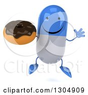 Clipart Of A 3d Happy Blue And White Pill Character Jumping And Holding A Chocolate Frosted Donut Royalty Free Illustration