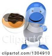 Clipart Of A 3d Happy Blue And White Pill Character Holding And Pointing To A Chocolate Frosted Donut Royalty Free Illustration