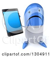 Clipart Of A 3d Unhappy Blue And White Pill Character Holding Up A Smart Cell Phone Royalty Free Illustration