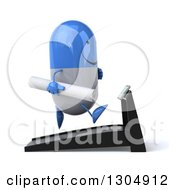 Clipart Of A 3d Happy Blue And White Pill Character Holding Plans Facing Right And Running On A Treadmill Royalty Free Illustration