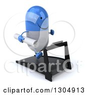 Clipart Of A 3d Happy Blue And White Pill Character Holding Plans Facing Slightly Right And Running On A Treadmill Royalty Free Illustration