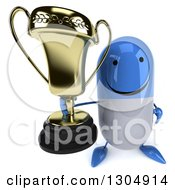 Clipart Of A 3d Happy Blue And White Pill Character Holding Up A Trophy Royalty Free Illustration