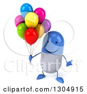 Clipart Of A 3d Happy Blue And White Pill Character Shrugging And Holding Party Balloons Royalty Free Illustration