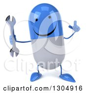 Clipart Of A 3d Happy Blue And White Pill Character Holding Up A Finger And A Wrench Royalty Free Illustration