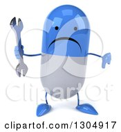 Clipart Of A 3d Unhappy Blue And White Pill Character Holding A Thumb Down And A Wrench Royalty Free Illustration