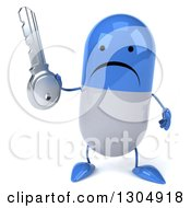 Clipart Of A 3d Unhappy Blue And White Pill Character Holding A Key Royalty Free Illustration