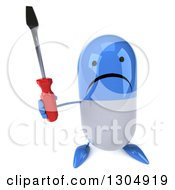 Clipart Of A 3d Unhappy Blue And White Pill Character Holding Up A Screwdriver Royalty Free Illustration