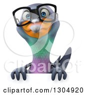 Clipart Of A 3d Bespectacled Pigeon Over A Sign Royalty Free Illustration