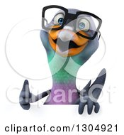 Clipart Of A 3d Bespectacled Pigeon Giving A Thumb Up Over A Sign Royalty Free Illustration