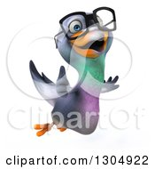 Clipart Of A 3d Happy Bespectacled Pigeon Flying To The Right And Giving A Thumb Up Royalty Free Illustration