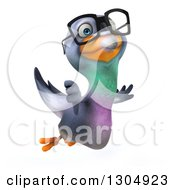 Clipart Of A 3d Bespectacled Pigeon Flying To The Right And Giving A Thumb Down Royalty Free Illustration