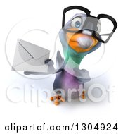 Clipart Of A 3d Bespectacled Pigeon Holding Up And Pointing To An Envelope Royalty Free Illustration