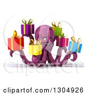 Clipart Of A 3d Happy Purple Octopus Facing Slightly Right And Holding Gifts Royalty Free Illustration