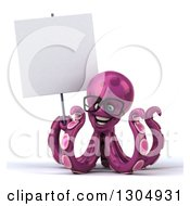 Clipart Of A 3d Bespectacled Purple Octopus Holding A Blank Sign Royalty Free Illustration by Julos
