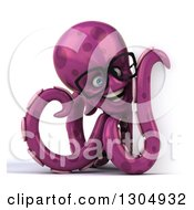 Clipart Of A 3d Bespectacled Purple Octopus Smiling Over A Sign Royalty Free Illustration by Julos