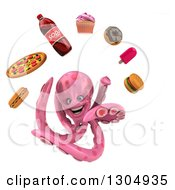 Clipart Of A 3d Happy Pink Octopus Juggling Junk Foods Royalty Free Illustration