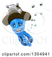 Clipart Of A 3d Happy Blue Pirate Octopus Swimming Royalty Free Illustration by Julos