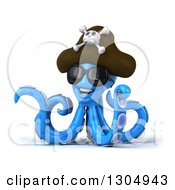 Clipart Of A 3d Happy Blue Pirate Octopus Wearing Sunglasses And Pointing Royalty Free Illustration by Julos