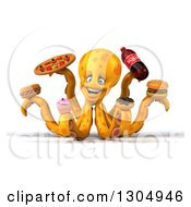 Clipart Of A 3d Happy Orange Octopus Holding Junk Foods Royalty Free Illustration
