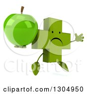 Clipart Of A 3d Unhappy Green Naturopathic Cross Character Facing Slightly Right Jumping And Holding A Green Apple Royalty Free Illustration
