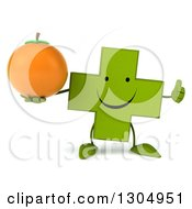 Clipart Of A 3d Happy Green Naturopathic Cross Character Holding A Navel Orange And Thumb Up Royalty Free Illustration