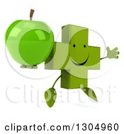 Clipart Of A 3d Happy Green Naturopathic Cross Character Facing Slightly Right Jumping And Holding A Green Apple Royalty Free Illustration