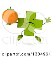Clipart Of A 3d Unhappy Green Naturopathic Cross Character Jumping And Holding A Navel Orange Royalty Free Illustration