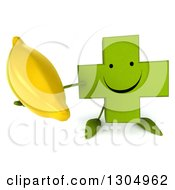Clipart Of A 3d Happy Green Naturopathic Cross Character Holding Up A Banana Royalty Free Illustration