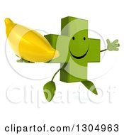 Clipart Of A 3d Happy Green Naturopathic Cross Character Facing Slightly Right Jumping And Holding A Banana Royalty Free Illustration